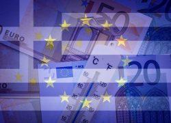Eu,Flag,,Greece,Flag,,Thermometer,And,Euros,-,Finance/business,Concept